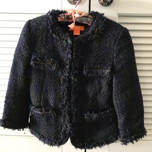 Tweed waist length blazer w/ embellishments